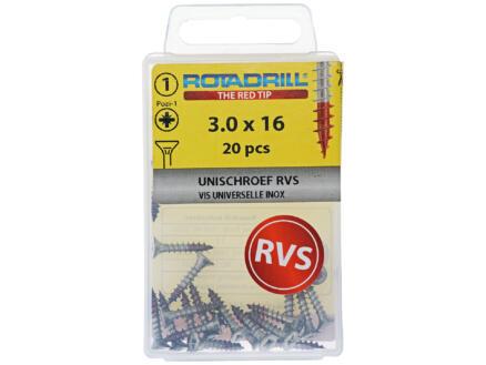 Rotadrill vis universelles PZ1 3x16 mm inox 20 pièces
