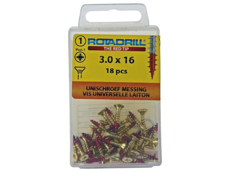 Rotadrill vis universelles PZ1 3x16 mm laiton 18 pièces