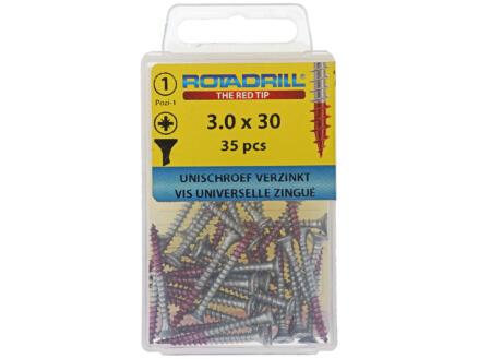 Rotadrill vis universelles PZ1 3x30 mm zingué 35 pièces