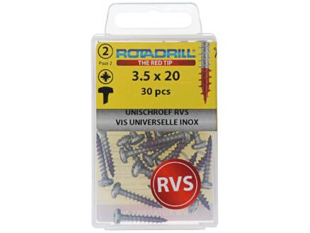 Rotadrill vis universelles PZ2 3,5x20 mm inox 30 pièces