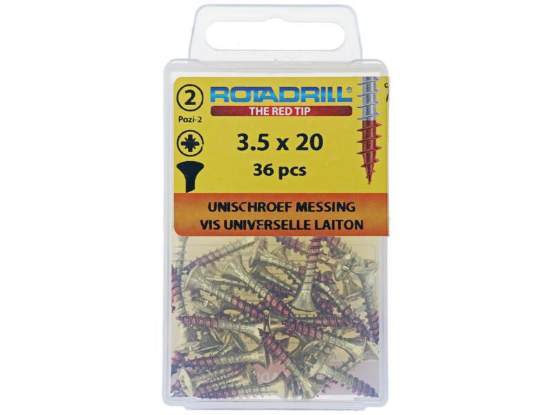 Rotadrill vis universelles PZ2 3,5x20 mm laiton 36 pièces