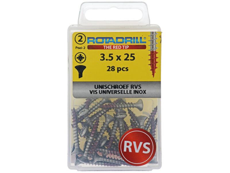 Rotadrill vis universelles PZ2 3,5x25 mm inox 28 pièces