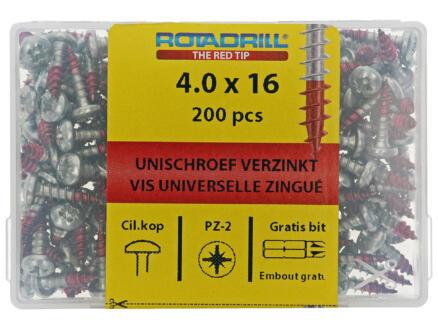 Rotadrill vis universelles PZ2 4x16 mm acier 200 pièces