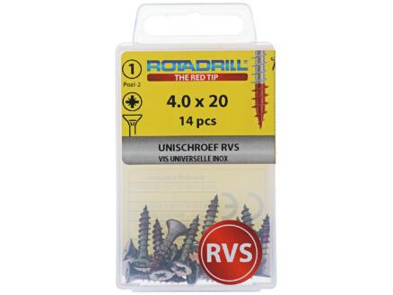 Rotadrill vis universelles PZ2 4x20 mm inox 14 pièces