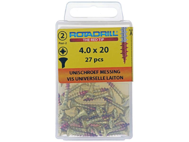Rotadrill vis universelles PZ2 4x20 mm laiton 27 pièces