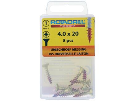 Rotadrill vis universelles PZ2 4x20 mm laiton 8 pièces