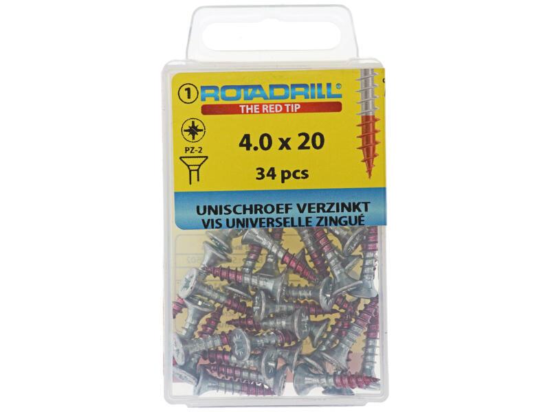 Rotadrill vis universelles PZ2 4x20 mm zingué 34 pièces