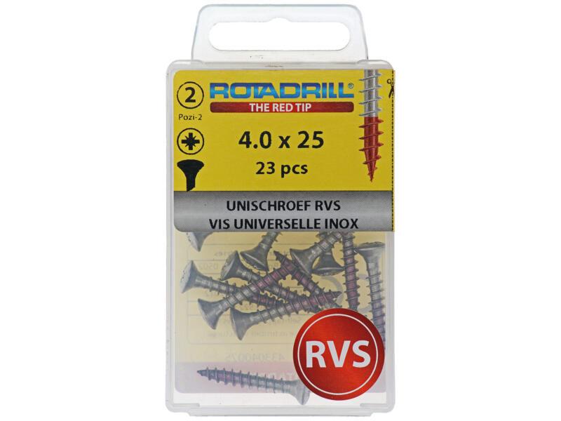 Rotadrill vis universelles PZ2 4x25 mm inox 23 pièces
