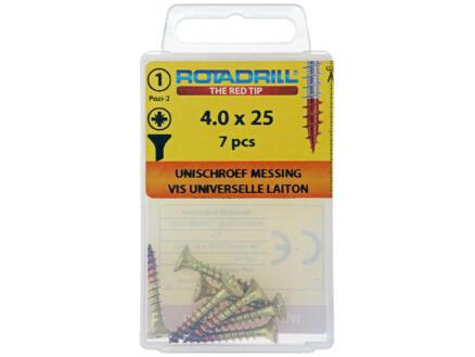 Rotadrill vis universelles PZ2 4x25 mm laiton 7 pièces
