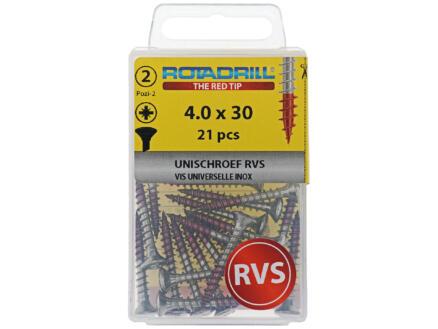 Rotadrill vis universelles PZ2 4x30 mm inox 21 pièces