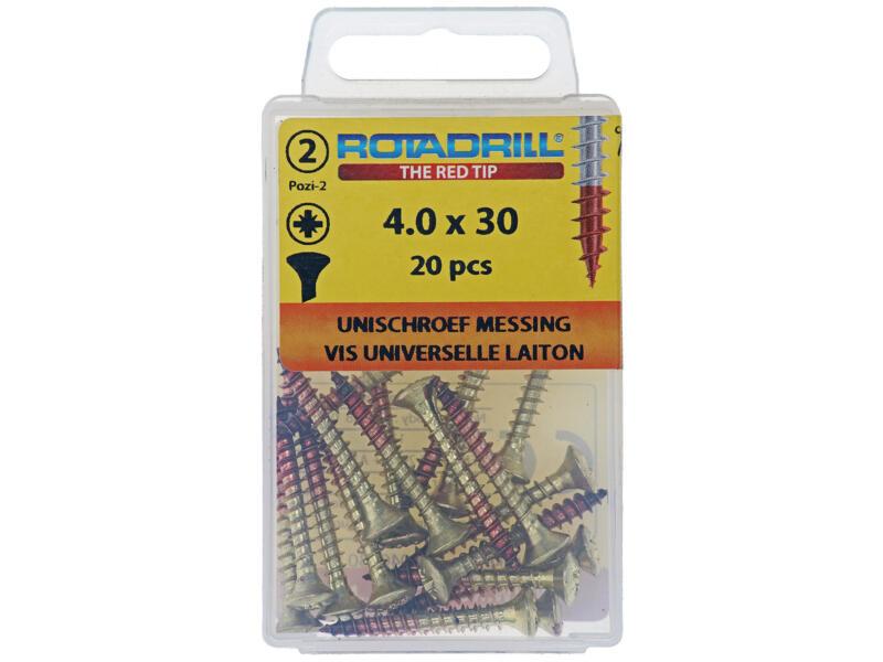 Rotadrill vis universelles PZ2 4x30 mm laiton 20 pièces