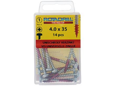 Rotadrill vis universelles PZ2 4x35 mm acier 14 pièces
