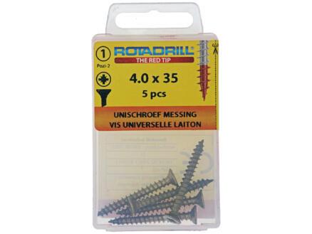 Rotadrill vis universelles PZ2 4x35 mm laiton 5 pièces