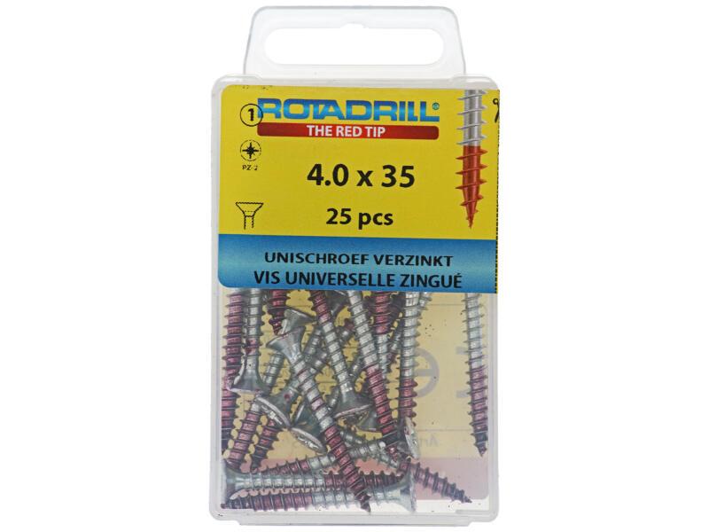 Rotadrill vis universelles PZ2 4x35 mm zingué 25 pièces