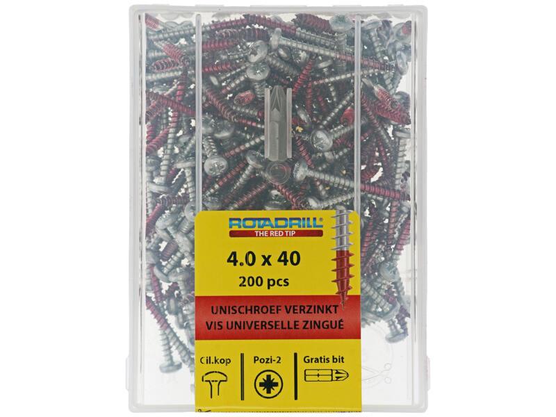 Rotadrill vis universelles PZ2 4x40 mm acier 200 pièces