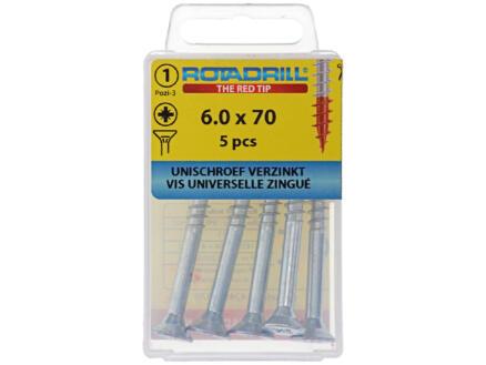 Rotadrill vis universelles PZ3 6x70 mm zingué 5 pièces