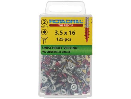 Rotadrill vis universelles TX15 16x3,5 mm zingué 125 pièces