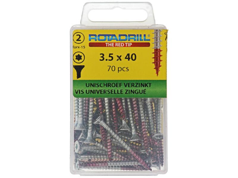 Rotadrill vis universelles TX15 40x3,5 mm zingué 70 pièces