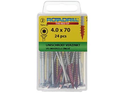 Rotadrill vis universelles TX20 70x4 mm zingué 24 pièces