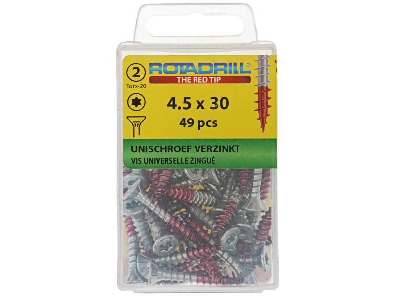 Rotadrill vis universelles TX25 30x4,5 mm zingué 49 pièces
