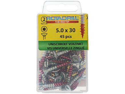 Rotadrill vis universelles TX25 30x5 mm zingué 45 pièces