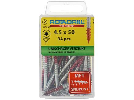 Rotadrill vis universelles TX25 50x4,5 mm zingué 34 pièces