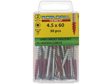 Rotadrill vis universelles TX25 60x4,5 mm zingué 30 pièces