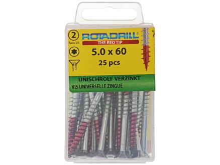 Rotadrill vis universelles TX25 60x5 mm zingué 25 pièces