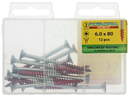 Rotadrill vis universelles TX25 80x6 mm zingué 12 pièces