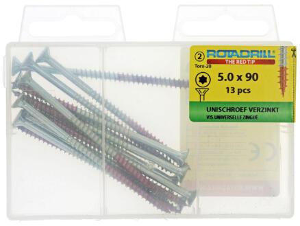 Rotadrill vis universelles TX25 90x5 mm zingué 13 pièces