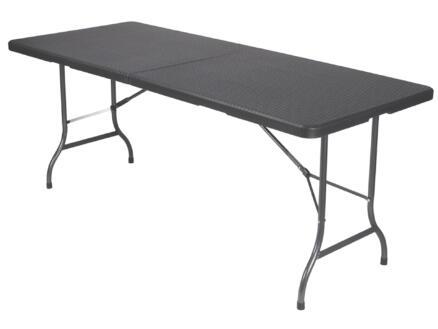 Toolland vouwtafel wickerdesign 180x75 cm zwart