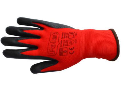 Polet werkhandschoenen nitril S rood-zwart
