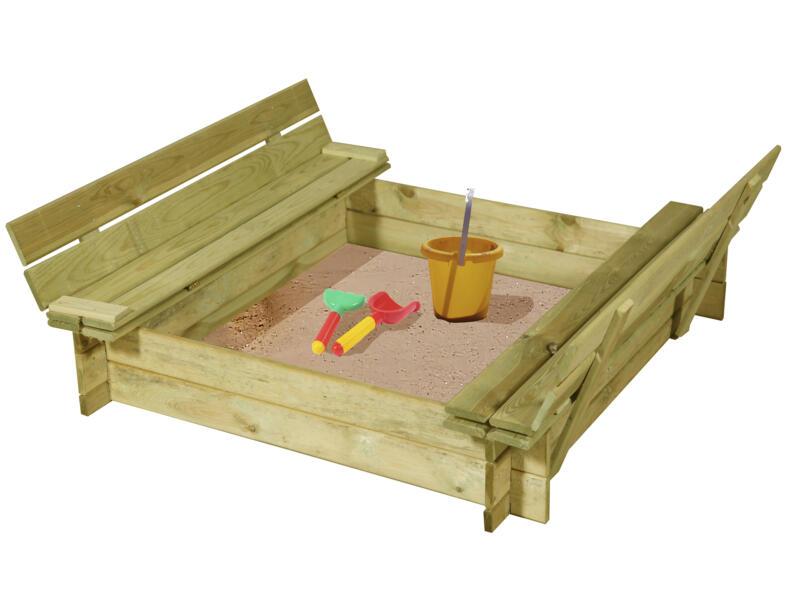 Gardenas zandbak met bankje en deksel 120x120 cm