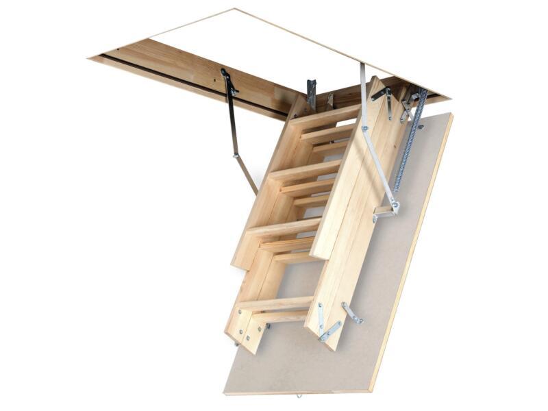 OptiStep zoldertrap 3-delig 111x70 cm hout met wit luik