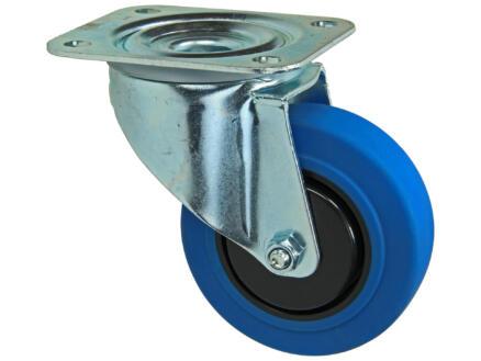 Tente zwenkwiel 100mm met plaat rubber blauw