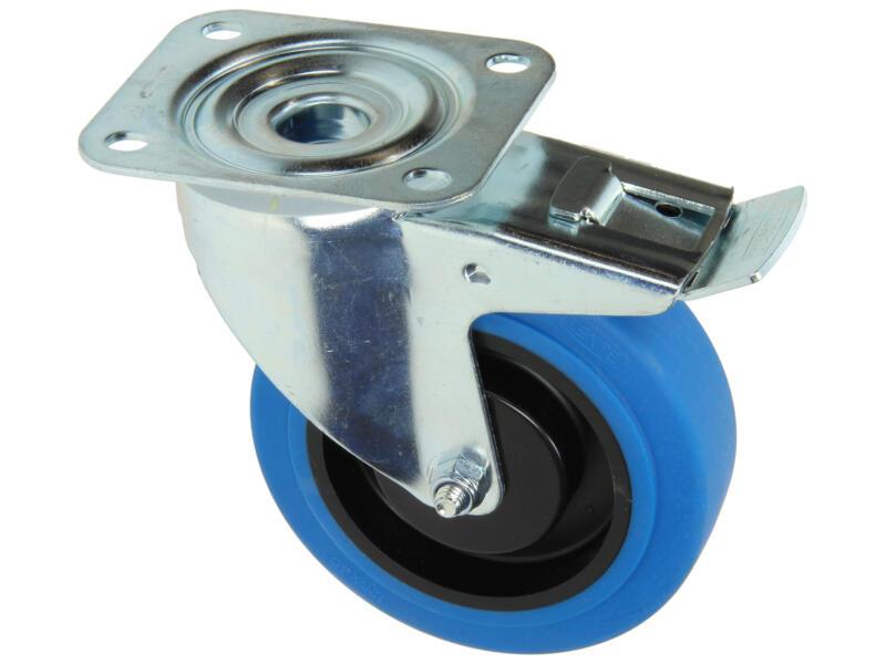 Tente zwenkwiel 125mm met rubberloopvlak en rem blauw